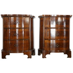 Louis XV Walnut Burl Veneer Serpentine Nightstand, Pair, circa 1840