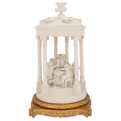Mid-19th Century Louis XVI Style Biscuit De Sèvres and Giltwood Centerpiece