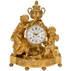 Mid-19th Century Louis XVI Style Clock in Ormolu Signed 'Beurdeley À Paris'