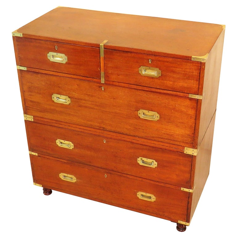Mid-19th Century Mahogany & Camphor Wood Military Campaign Chest of Drawers