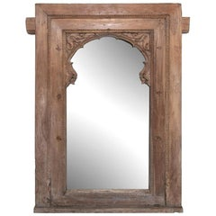 Mid 19th Century Mehrab Arched Window Frame Mirror