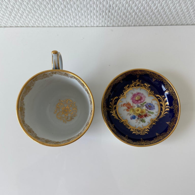 German Mid-19th Century Meissen Cobalt Blue with Scene Painting Coffee Cup Saucer For Sale