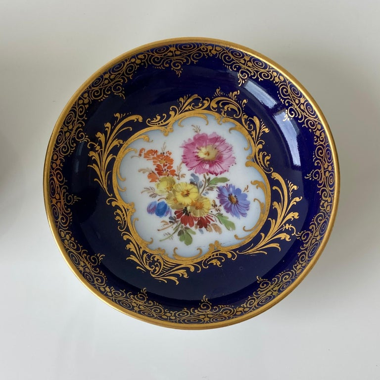 Mid-19th Century Meissen Cobalt Blue with Scene Painting Coffee Cup Saucer For Sale 1