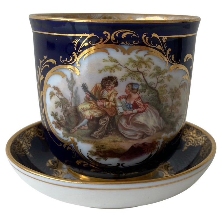 Mid-19th Century Meissen Cobalt Blue with Scene Painting Coffee Cup Saucer For Sale