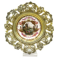 Mid-19th Century Meissen Plate with Landscape Painting and Hollow Gilded Frame