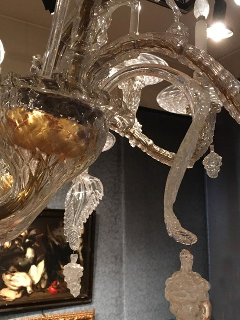Mid-19th Century Murano Venice Chandelier Blown Clear and Gold Glass 12 Lights For Sale 7