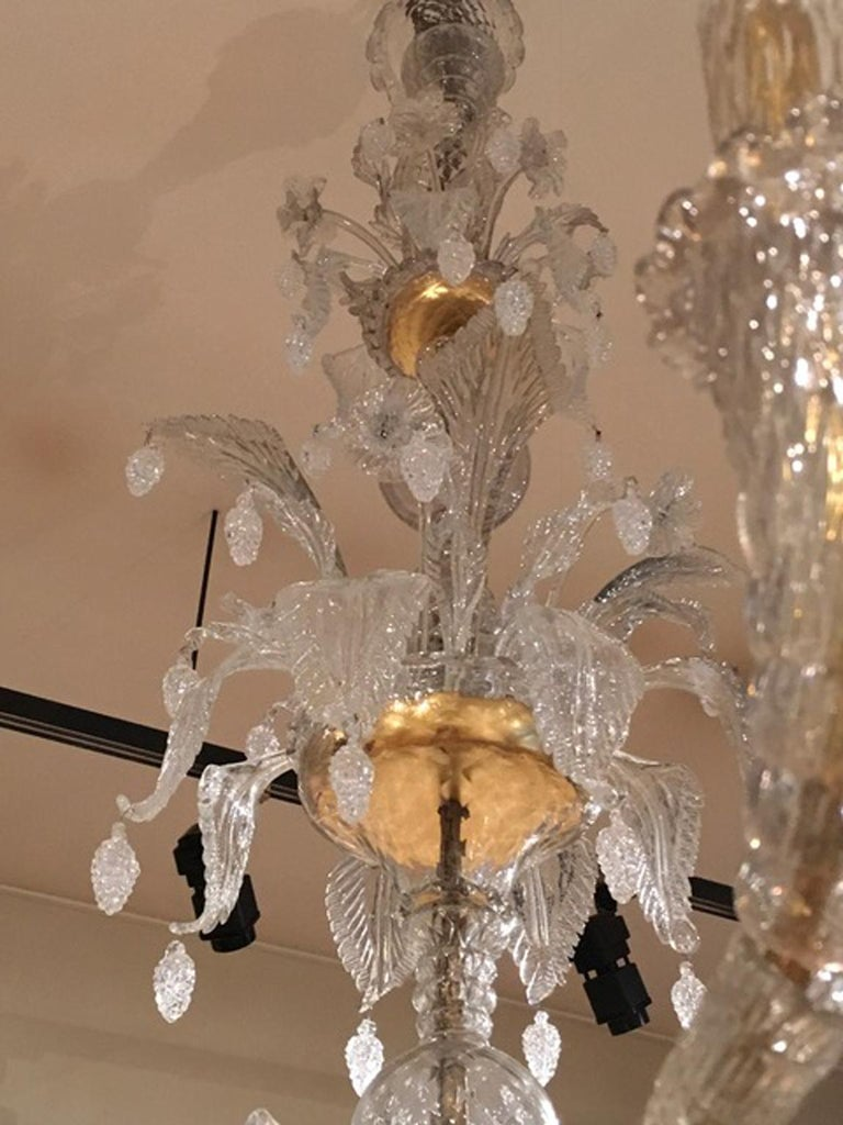 Mid-19th Century Murano Venice Chandelier Blown Clear and Gold Glass 12 Lights For Sale 12