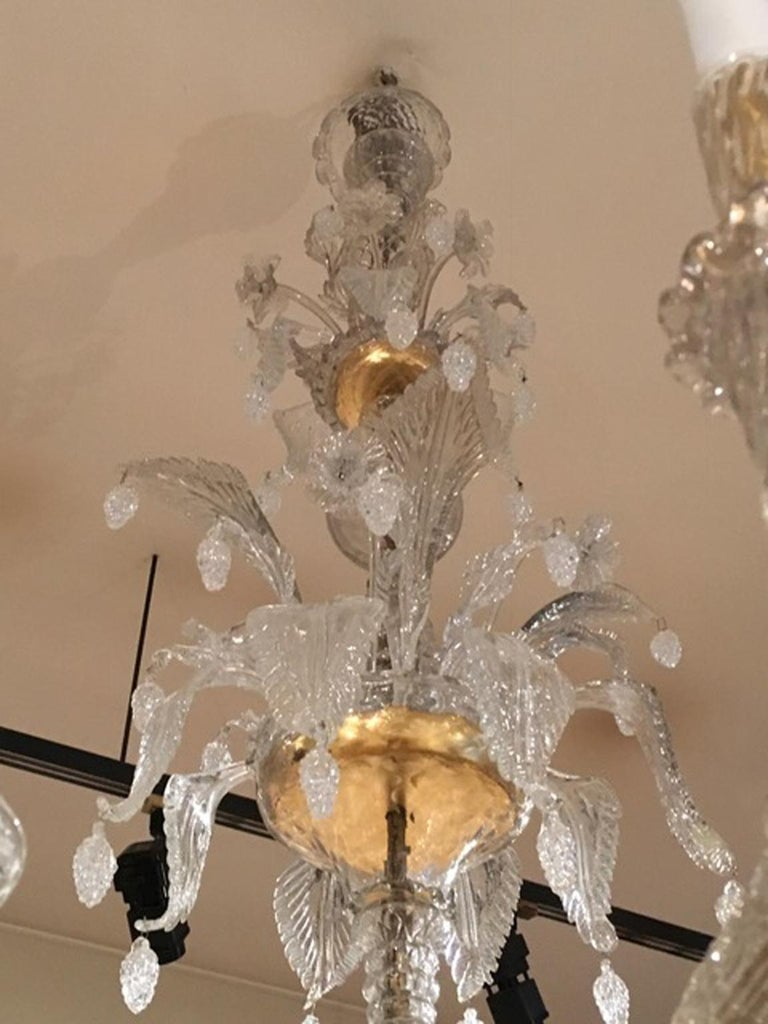 Mid-19th Century Murano Venice Chandelier Blown Clear and Gold Glass 12 Lights For Sale 13