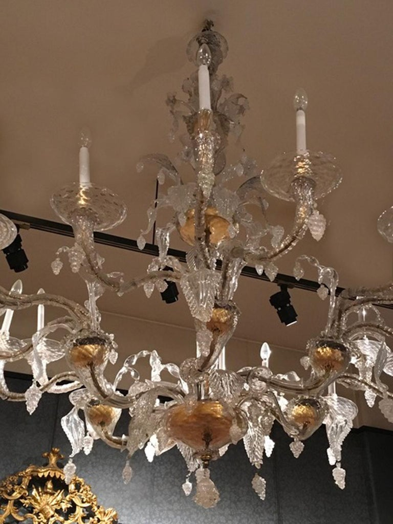 Blown Glass Mid-19th Century Murano Venice Chandelier Blown Clear and Gold Glass 12 Lights For Sale