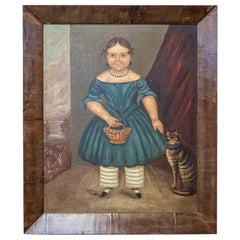 Mid-19th Century Naive Girl and Cat Portrait