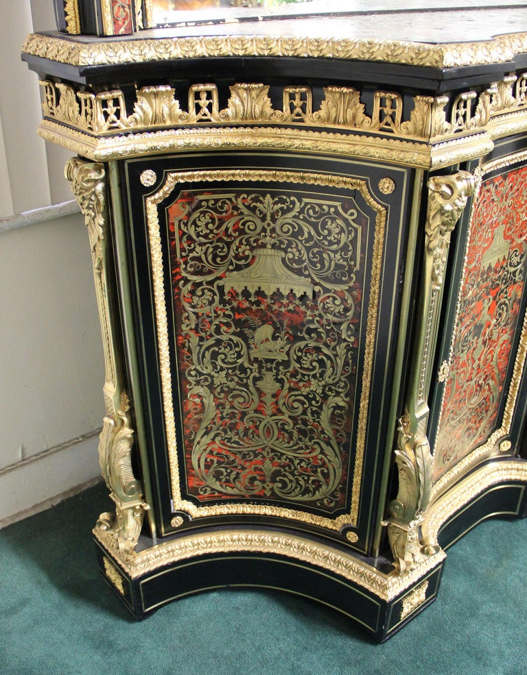 French Mid-19th Century Napoleon III Gilt Bronze Mounted Boulle Style Cabinet & Mirror For Sale