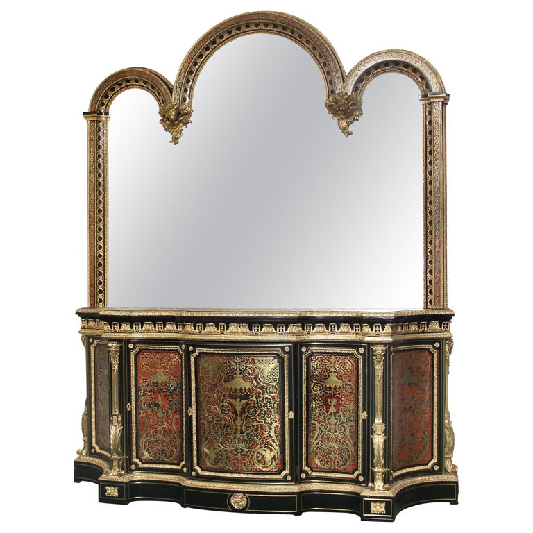Mid-19th Century Napoleon III Gilt Bronze Mounted Boulle Style Cabinet & Mirror For Sale