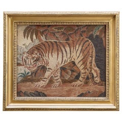 Mid-19th Century Needlework of a Tiger