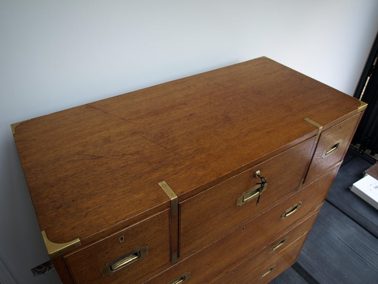 Mid-19th Century Oak Brass Bound Military/Campaign Chest with Secretaire Drawer For Sale 9