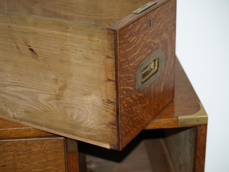 Mid-19th Century Oak Brass Bound Military/Campaign Chest with Secretaire Drawer For Sale 10