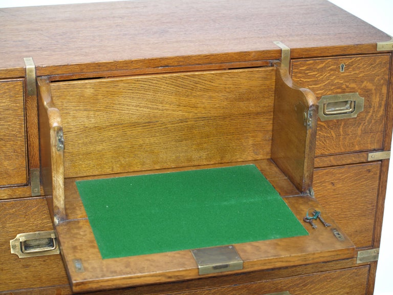 Mid-19th Century Oak Brass Bound Military/Campaign Chest with Secretaire Drawer For Sale 1