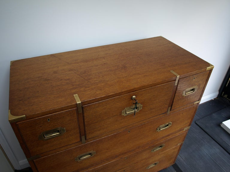 Mid-19th Century Oak Brass Bound Military/Campaign Chest with Secretaire Drawer For Sale 4