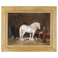 Mid-19th Century Oil on Canvas Horses in a Stable by Henry Woollett