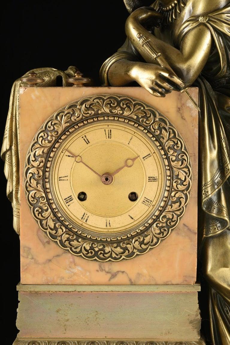 Mid-19th Century Orientalist Bronze Mounted Siena Marble Mantel Clock For Sale 2