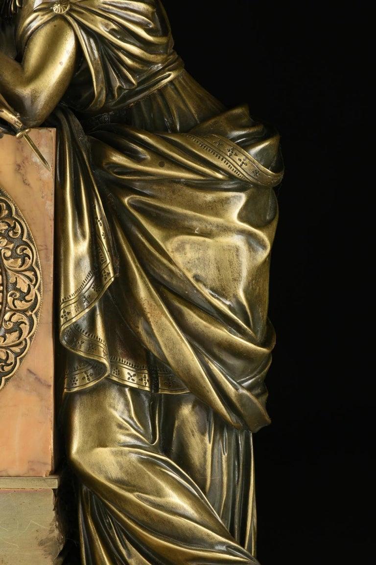 Mid-19th Century Orientalist Bronze Mounted Siena Marble Mantel Clock For Sale 3