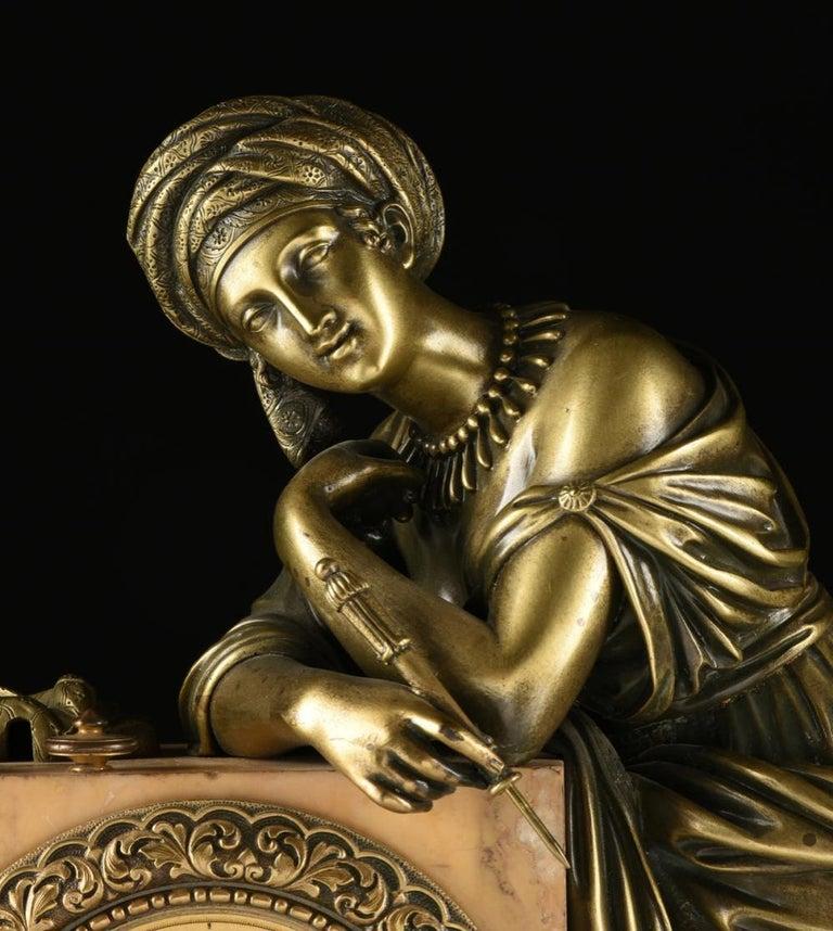 Mid-19th Century Orientalist Bronze Mounted Siena Marble Mantel Clock For Sale 4