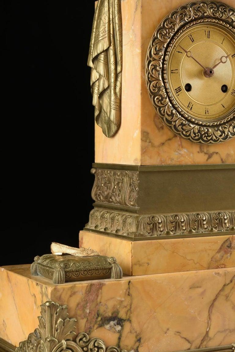 Mid-19th Century Orientalist Bronze Mounted Siena Marble Mantel Clock For Sale 5