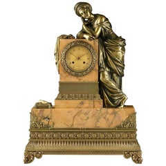 Mid-19th Century Orientalist Bronze Mounted Siena Marble Mantel Clock