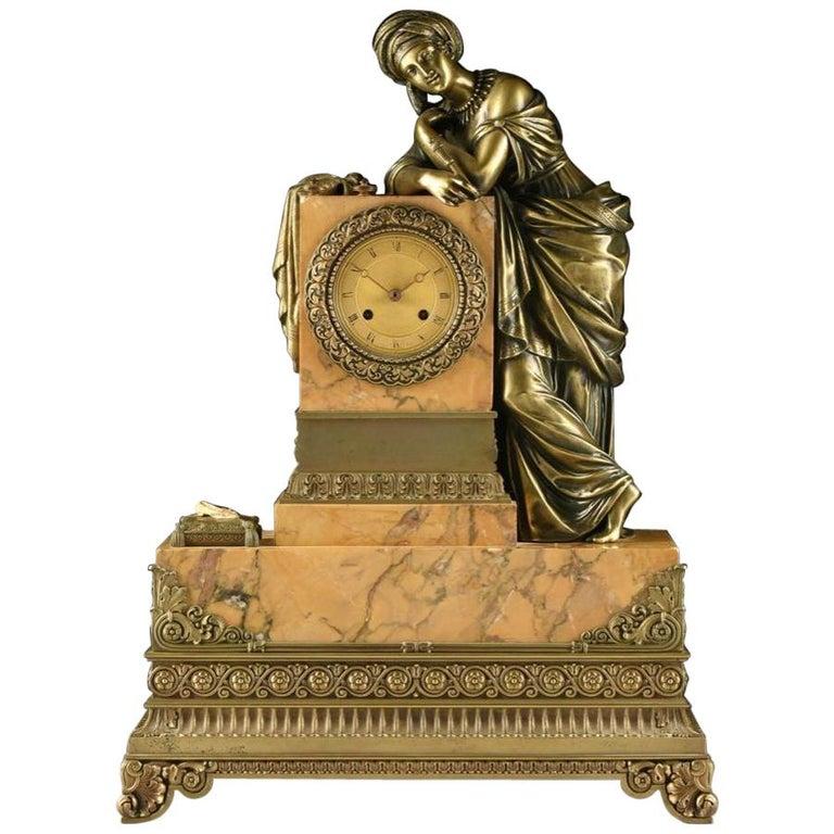 Mid-19th Century Orientalist Bronze Mounted Siena Marble Mantel Clock For Sale
