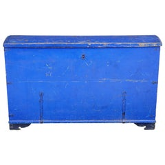 Mid-19th Century Painted Pine Dome Top Trunk