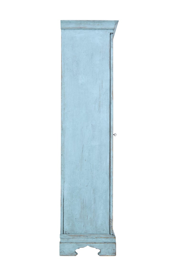 Hand-Painted Mid-19th Century Painted Swedish Pine Tall Cupboard For Sale