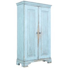 Mid-19th Century Painted Swedish Pine Tall Cupboard