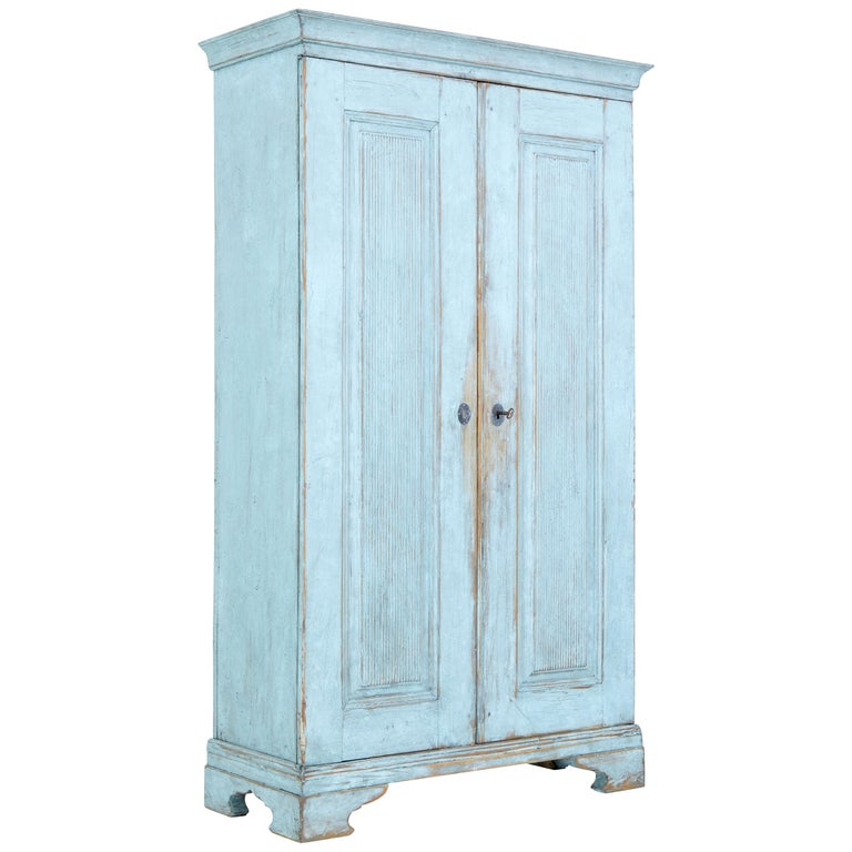 Mid-19th Century Painted Swedish Pine Tall Cupboard For Sale