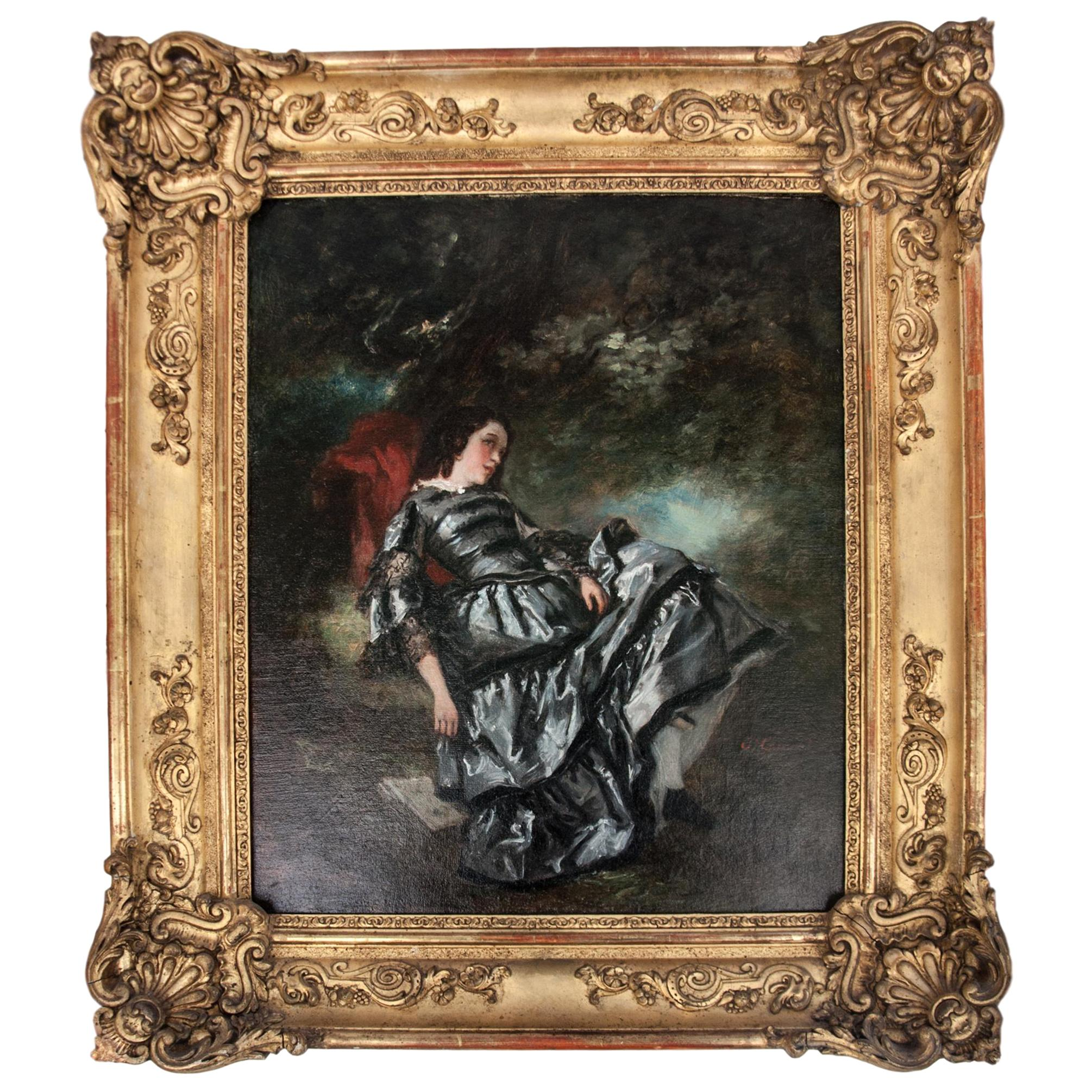 Oil Painting Elegant Lady Under Tree by Nicolas François Octave Tassaert, 1850