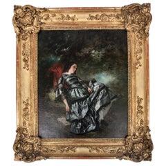 Mid-19th Century Painting of Girl under Tree by Nicolas Octave Tassaert
