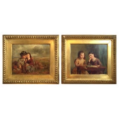 Mid-19th Century Pair of English Oil Paintings on Board, Early Frames