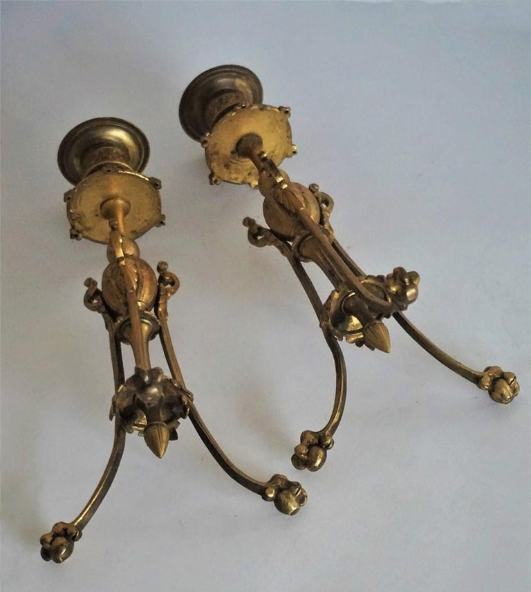 Mid-19th Century Pair of French Empire Style Gilt Bronze Candleholders For Sale 9
