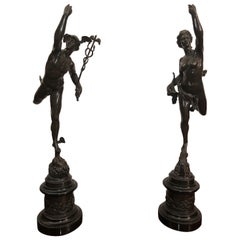 Mid-19th Century Pair of Italian Bronze Sculptures Mercury and Fortune