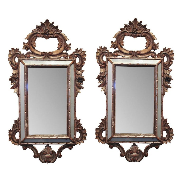 Mid-19th Century Pair of Italian Cushion Mirrors For Sale