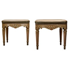 Mid-19th Century Pair of Lacquered Wooden Benches with Leather Top, Italy, 1850