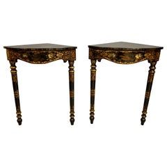Mid-19th Century Pair of Painted Continental Corner Console Tables
