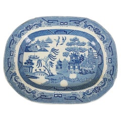 Mid 19th Century Pearlware Blue Willow Transfer Platter, England, 1840