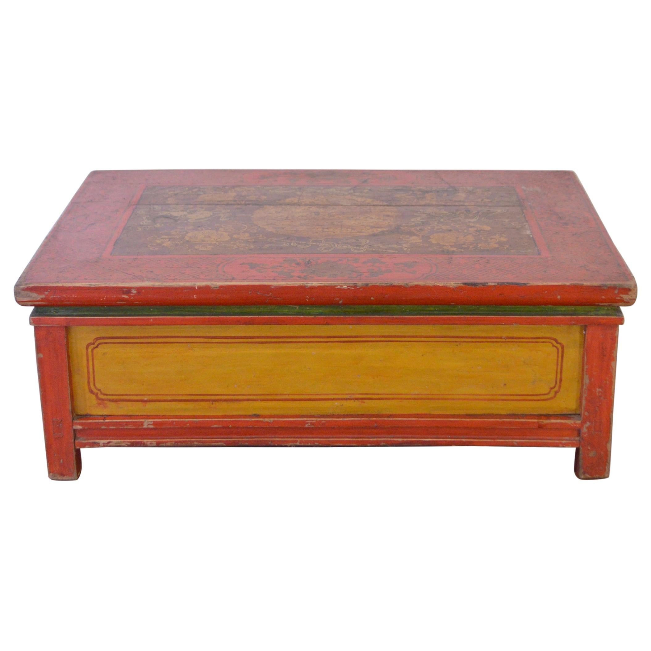Mid-19th Century Pine Tibetan Coffee Table Hand-Painted