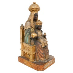 Mid-19th Century Polychromed Montserrat Virgin Statue