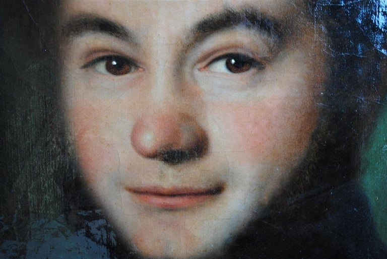 Mid-19th century portrait young man signed Esperandieu and dated 1843. Wooden frame and gold stucco. French school.