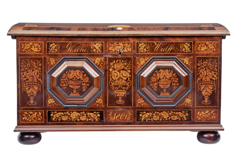 Mid-19th Century Profusely Inlaid Continental Walnut Dome Chest 2
