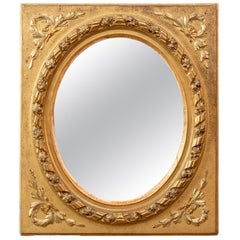 Mid-19th Century Rectangular Giltwood Frame with Oval Mirror, 1860