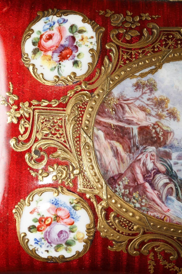 Louis XV Mid-19th Century Red Enameled Keepsake Box with Mythological Scene For Sale