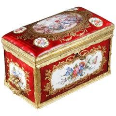 Mid-19th Century Red Enameled Keepsake Box with Mythological Scene