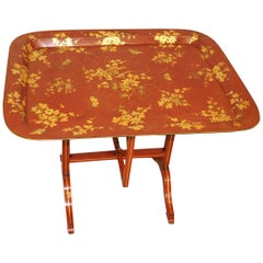 Mid-19th Century Red English Papier Mâché Tray Table on Stand