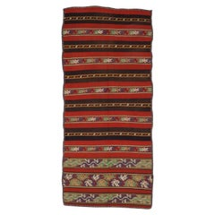 Mid-19th Century Romanian Wool Tapestry Woven Long Striped Apron